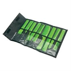 Набор расчесок Dewal в черном чехле 9 шт салатовый - фото 40710