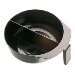 Чаша для краски Dewal, черная, с ручкой и перегородкой, с резинкой на дне 2х375 мл - фото 40821