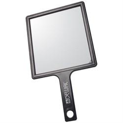 Зеркало заднего вида Dewal пластик черное с ручкой 21,5х23,5 см - фото 44668